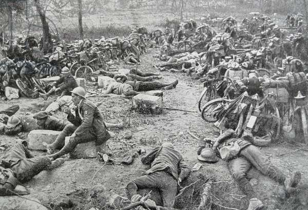 Exhausted French soldiers rest during a lull in the battle of the marne, 1914