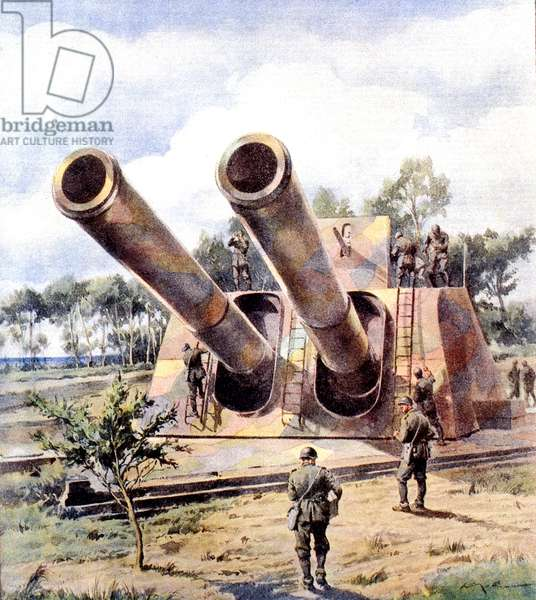 World War II-War in Italy-Sicily 1943 Heavy Artillery Italian camouflaged ready to counter the enemy assault