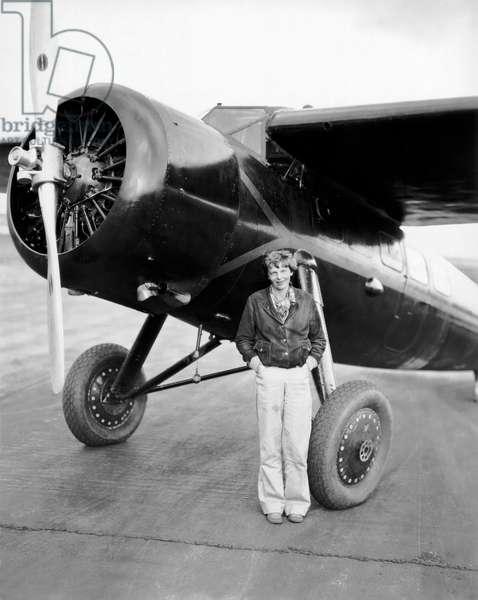 Amelia Earhart And Her Plane (b/w photo)