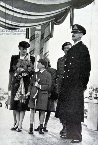 King Haakon, Crown Princess Martha, Prince Olav, and Prince Harald of Norway, 1945