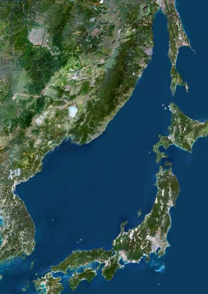 Sea Of Japan, Asia, True Colour Satellite Image. True colour satellite image of the Sea of Japan, a sea of the western Pacific Ocean. It is bordered by Japan, South Korea, North Korea and Russia. Composite image using LANDSAT 5 data ©Planet Observer/UIG/Leemage
