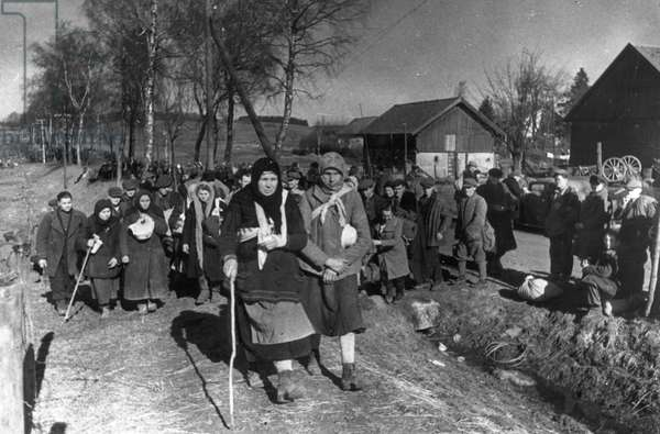 Russians Liberated from Slave Labor in Germany Returning Home, World War 2, 1945.