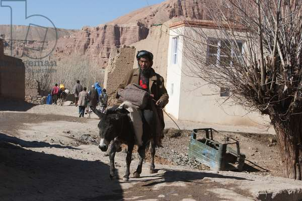 Afghan Man on A Donkey in Bamiyan, Bamian Province, Afghanistan (photo)