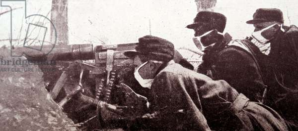World war One gas attack on Belgian artillery soldiers wearing masks, 1914