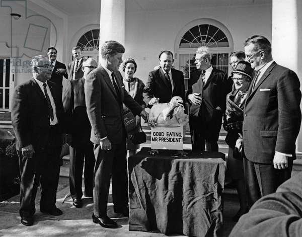 President John F. Kennedy Receives Thanksgiving Turkey at White House, November 1963 (b/w photo)
