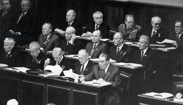 The 6Th Session of the USSR Supreme Soviet of the 10Th Convocation, First Row: Chernenko (Left), Brezhnev (Right), Second Row: Mikhail Gorbachev (Center), Third Row: Directly Above Gorbachev and Next to Ustinov is Romanov, Far Right is Gromyko and Andropov is Second from the Right, November 17, 1981.