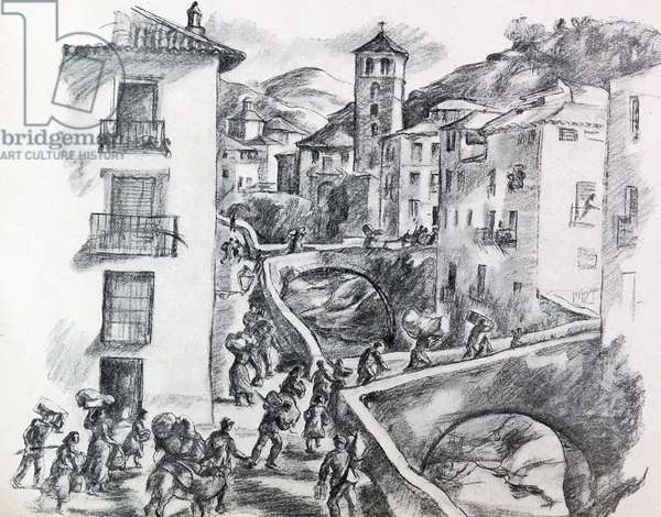 Refugees flee from advancing armies during the Spanish Civil War