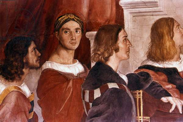 Detail showing Raphael (centre facing) from the Mass at Bolsena. 1514. Fresco by Raphael (1483–1520):Raffaello Sanzio.