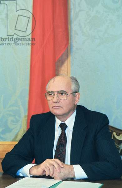 Moscow, President of the USSR Mikhail Gorbachev Addresses the Nation on Tv Explaining the Reason for his Resignation, December 25, 1991.