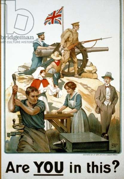 First World War British recruitment poster, designed by Robert Baden Powell. circa 1915
