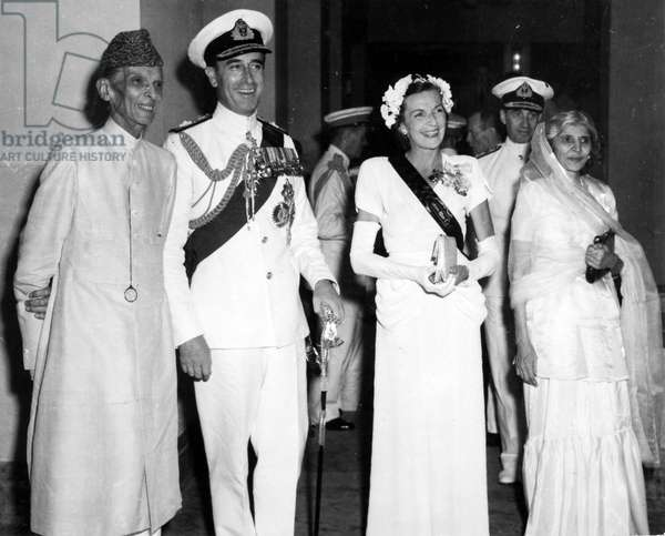 Muhammad Ali Jinnah with Lord and Lady Mountbatten and Fatima Jinnah, 1947
