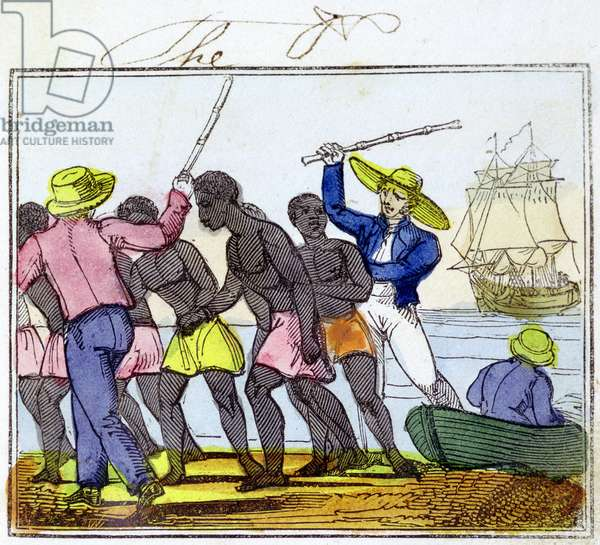 African slave trade. Slaves unloaded from slave ship at their destination. From Amelia Opie The Black Man's Lament: or How to Make Sugar, London, 1826