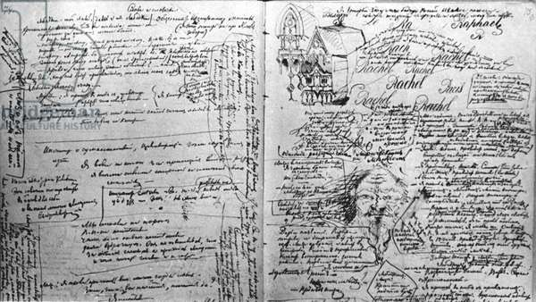 Russian Author Fyodor Dostoyevsky'S Speech on the Poet Alexander Pushkin (1880) with the Writer'S Doodles and Embellishments.