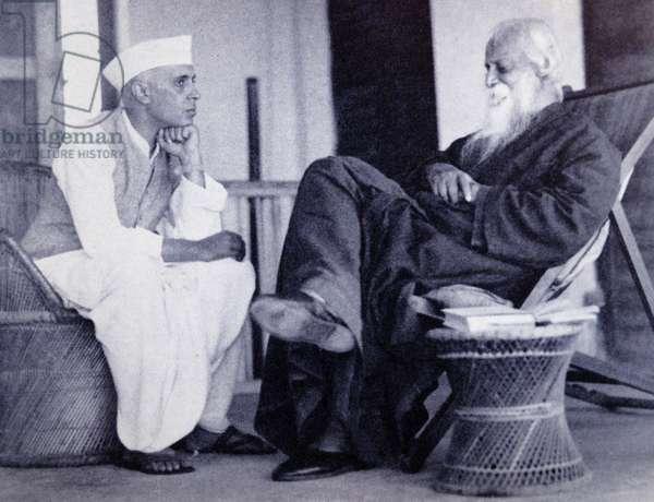 Rabindranath Tagore with Pandit Jawaharlal Nehru