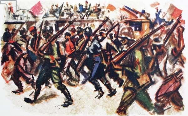 Illustration depicting communist militia marches through a Madrid street