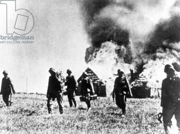 German Soldiers Burn Villages Near Pskov, 1941.
