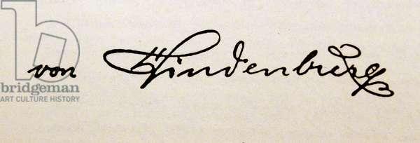 Signature of Paul von Hindenburg