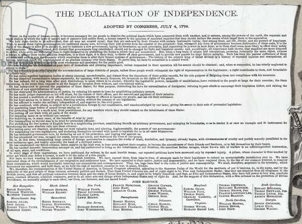 Text of the Declaration of Independence, 1776