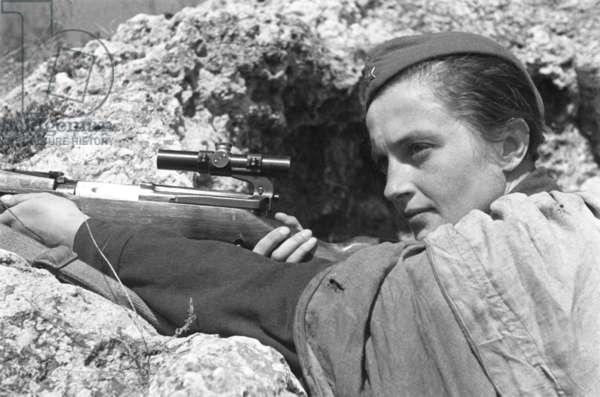 Sevastopol, 1942, Sharpshooter Lyudmila Pavlichenko, Hero of the Soviet Union, Who Killed More Than 300 Nazi Soldiers.