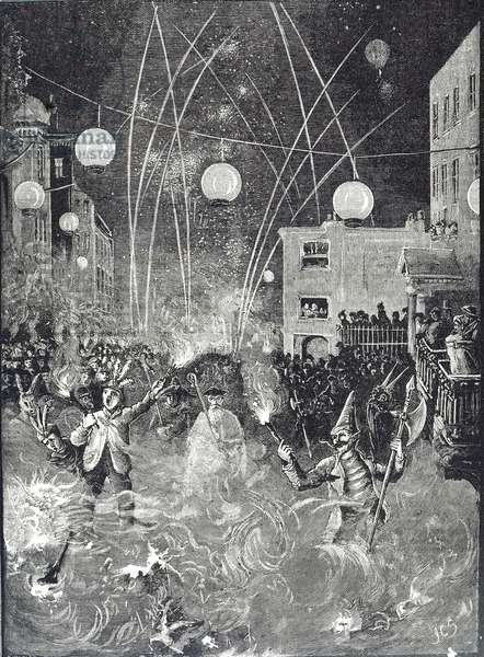 Engraving depicting the 1886 Lewes Bonfire