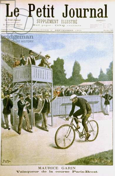 Maurice Garin (1871-1957) winning the 1901 Paris-Brest cycle race organised by Le Petit Journal and Auto-Velo. Garin, a French road bicycle racer, won the Tour de France in 1903, the first year it was run. From Le Petit Journal, Paris, 1 September 1901.