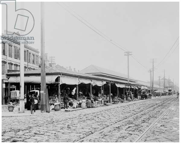 French Market, New Orleans (b/w photo)
