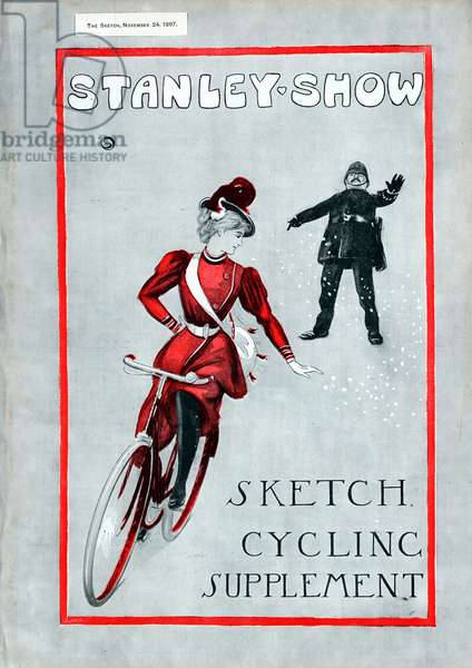 Cycling: Lady in 'Rational' cycling dress. Cover of The Sketch Cycling Supplement London 14 November 1897 celebrating 21 years of the Stanley Cycling Club.