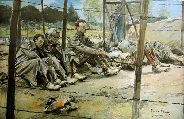 German officers, as prisoners of war in a French prison camp