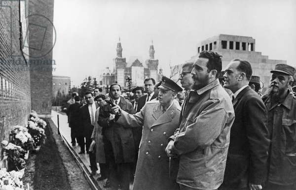 Fidel Castro Visits The Kremlin Wall In Moscow