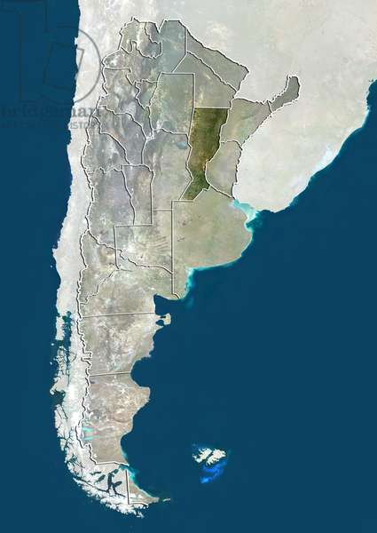 Argentina and the Province of Santa Fe, True Colour Satellite Image
