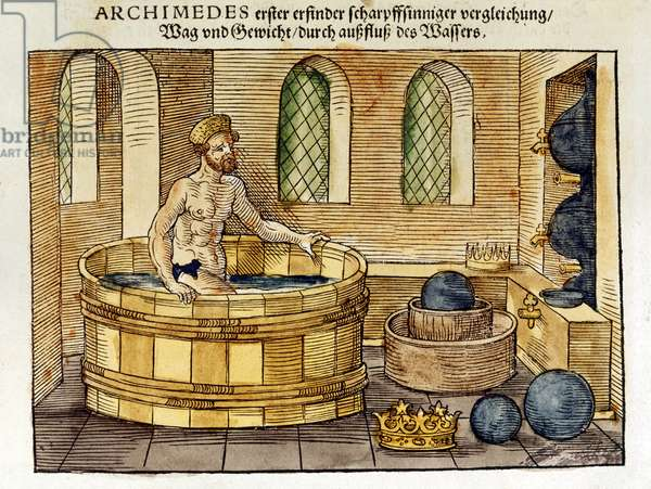 Archimedes (c287-212 BC) Greek mathematician and inventor, in his bath, 1547 (hand-coloured woodcut)