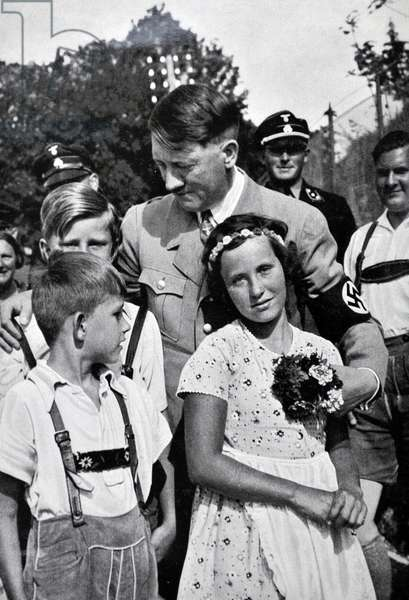 Adolf Hitler 1889-1945. German politician and the leader of the Nazi Party, greeted by  Hitler Youth