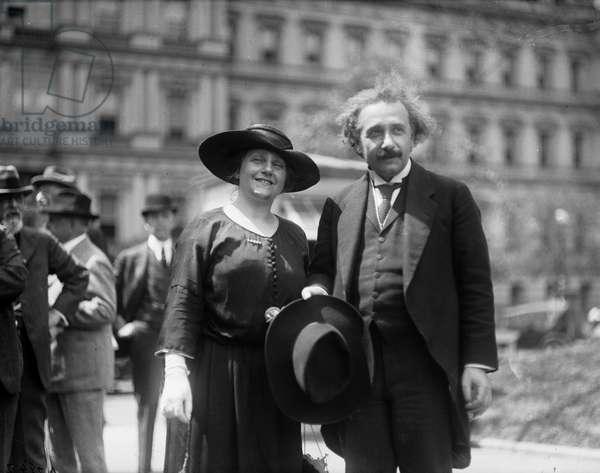 Albert Einstein with his wife Elsa.