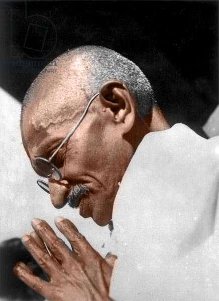 Mohandas Karamchand Gandhi dit Mahatma Gandhi (1869-1948), leader politique et spirituel indien, vers 1938 - Mahatma Gandhi, c. 1938. ©Dinodia/Uig/Leemage