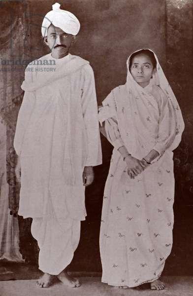 Mohandas Karamchand Gandhi and his wife Kasturba Return to India 1915