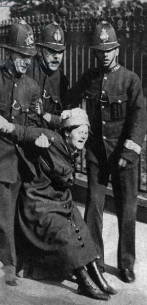 Suffragette being restrained by the police, 1910