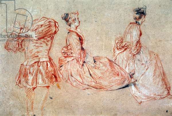 Study of a Flute-Player and Two Women, 1717 (drawing)