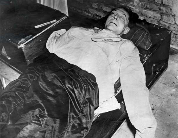 Death of Hermann Goering, wartime Nazi leader and air force commander who committed suicide during the war crimes trials at Nuremberg in 1946