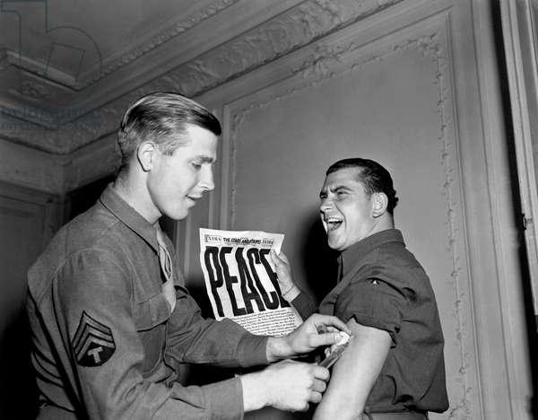 World War Two Ends, Paris, France, August 14, 1945 (b/w photo)