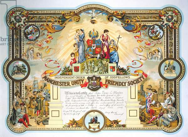 Manchester Unity Friendly Society: Office holder's certificate for a member of the Female Lodge 1929.