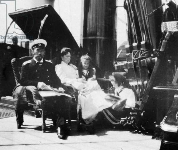 The Royal Couple of Russia, Tsar Nicholas Ll and Tsarina Alexandra Fyodorovna Aboard the Royal Yacht with Two of their Children.