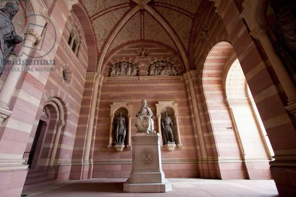 Sculpture of Rudolf Von Habsburg in the Entrance of the Speyer Cathedral, (Officially the Imperial Cathedral Basilica of the Assumption and St Stephen), Speyer, Germany (photo)
