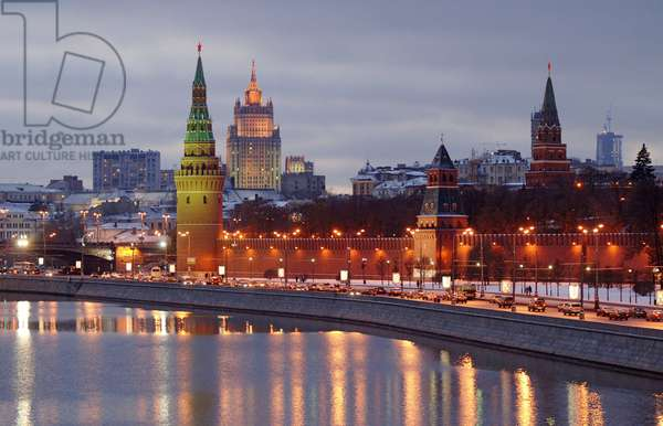 The Kremlin In Moscow At Night : The Kremlin in Moscow, Russia, at night, 14/11/10 ©ITAR-TASS/UIG/Leemage