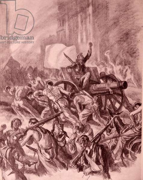 Anarchy and mayhem carried out by republicans during the Spanish Civil war. Propaganda illustration by Carlos Sáenz de Tejada