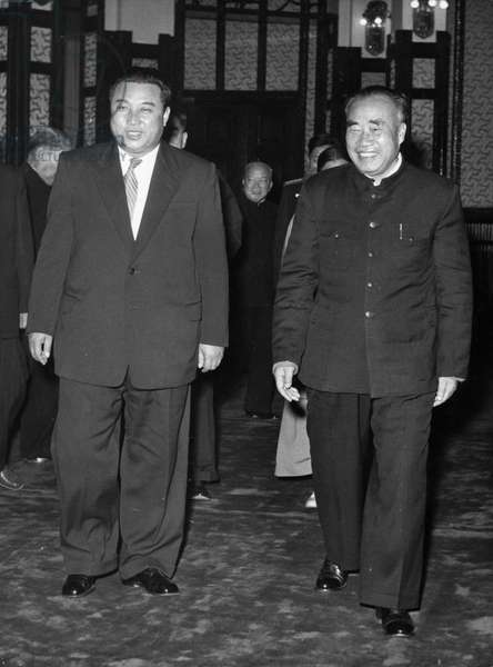 Chinese Vice-Chairman Chu Teh receiving the Korean Government delegation headed by Premier Kim Il Sung on November 22, 1958