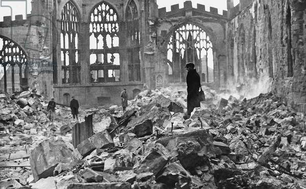 Coventry Cathedral in the wake of an Air Raid, 1940