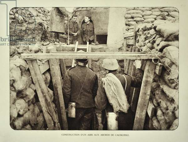Soldiers at shelter in trench at Kaaskerke in Flanders during the First World War, Belgium ©UIG/Leemage