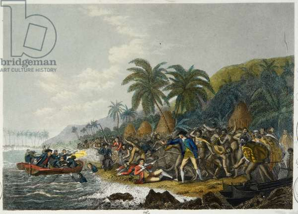 The Death Of Captain Cook (coloured engraving)