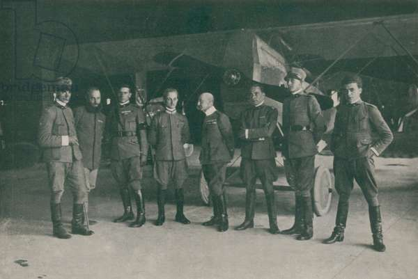 WWI 9 August 1918-The squadron 'Serenissima', The seven pilots and the commander, from right to left: Granzarolo, Allegri, Locatelli, Palli, D'Annunzio, Massoni, Finzi and Censi