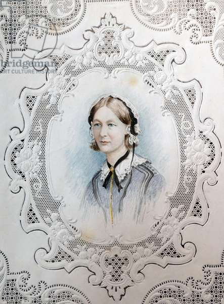 Lace bordered portrait of Florence Nightingale, (1820 – 1910) an English social reformer and statistician, and the founder of modern nursing.